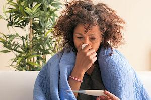 Vrouw met griep